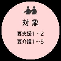 対象:要支援1・2、要介護1〜5