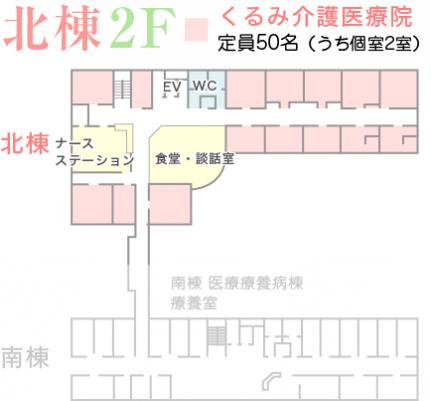 北棟2F くるみ介護医療院 定員50名(うち個室2室)