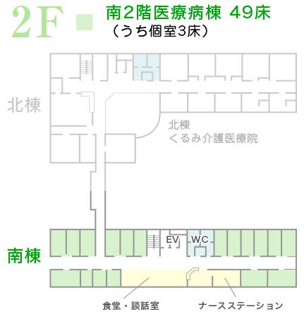 南2階医療病棟 49床(うち個室3床)