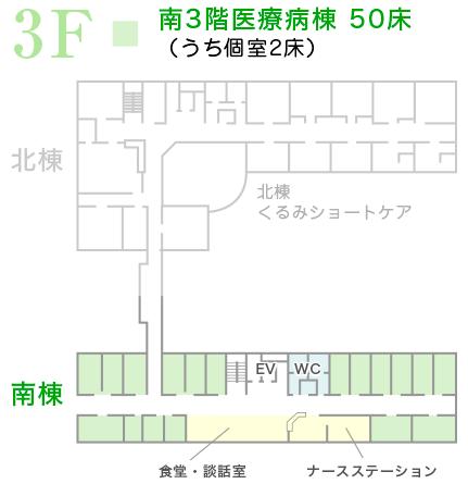 南3階医療病棟 49床(うち個室3床)
